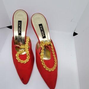 Red vintage escada satin evening shoe 10
